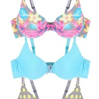 Set of 3 Bras with Dots and Floral Prints