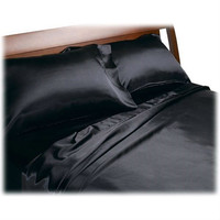 Full size Soft Polyester Satin Sheet Set in Solid Black