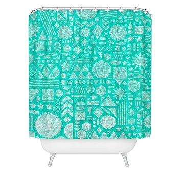 Nick Nelson Modern Elements In Turquoise Shower Curtain