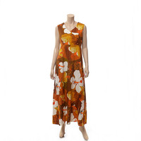 Vintage 70s Mod Floral Hawaiian Dress 1970s Hukilau Honolulu Barkcloth Tapa Cloth Autumn Fall Colors Boho Hippie Tiki Resort Maxi Gown / L