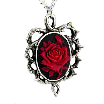 Gothic Thorn Red Rose Vine Cameo Necklace Victorian Antique Style Pendant