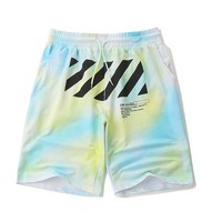 OFF-WHITE New Casual Wild Yellow Gradient Color Stripe Five Shorts