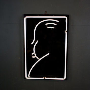 Alfred Hitchcock Glass Profile Sign / Vintage