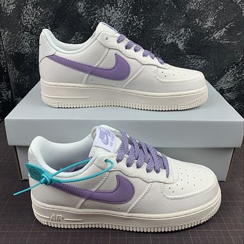 Morechoice Tuhz Nike Air Force 1 Low Sneakers Casual Skaet Shoes White Purple Women Shoes