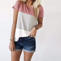 Women's Pink Colorblock Solid Black Striped White Short Sleeve Fashion Top