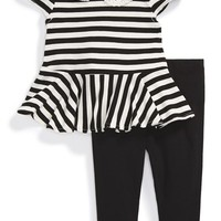 Infant Girl's Nicole Miller Crochet Collar Peplum Stripe Top & Leggings