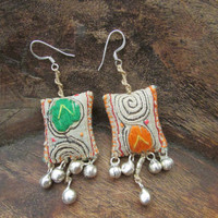 Hmong Tribal Earrings, Upcycled Vintage Textile, Fabric Colorful OOAK Jewelry
