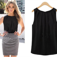 2016 New Fashion Summer Sleeveless Vest Black White Chiffon Blouses Tank Tops Crop Tops For Ladies Woman Free Shipping SW584_L
