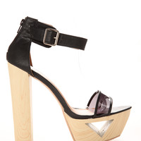 Ankle Strap Cut Out Platform Sandals