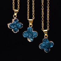 Trendy Druzy Necklace Clover Shape Gold Plated Natural Amethyst Turquoise Quartz Crystal Necklace Stone Pendant Jewelry