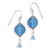 Blue Glass Drop Fashion Earrings