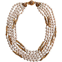 Miriam Haskell Five-Strand Pearl Necklace