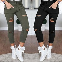 Women Denim Ripped Skinny Jeans  Pencil Pants