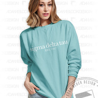 Sigma Delta Tau - Simple Sweatshirt (Comfort Colors Chalky Mint) - Order now to help us reach our goal!