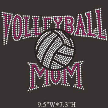Volleyball mom rhinestone hotfix iron on transfer - pink hot fix bling DIY appliqué for shirts t-shirts tees custom - school mascot
