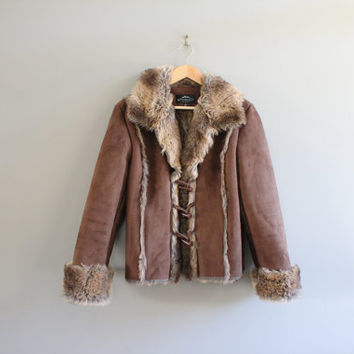 Suede Fur Coat Faux Shearling Lining Brown Synthetic Suede Boho Jacket Vintage 90s Size  S - M  #O118A