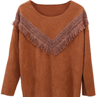 Brown Long Sleeve Suede Detail Sweatshirt