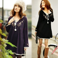 Maternity Fashion Vintage Embroidery Laciness Knitted One-piece Dress New 17303 One Size Vestidos (Color: Black) = 1946519876
