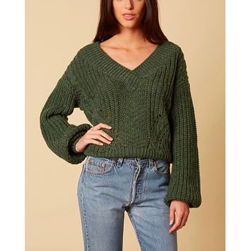 Final Sale - Better Now - Ribbed Trim Bishop Sleeve Sweater - Forest Green