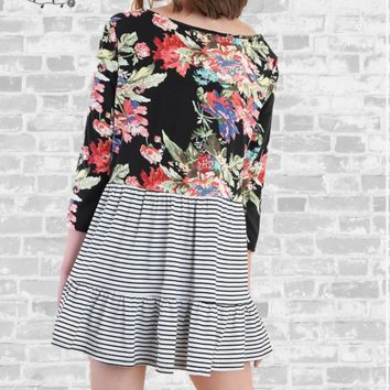 Floral & Stripe Ruffle Top - Black - Small only
