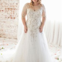 [209.99] Brilliant Tulle Bateau Neckline Dropped A-line Plus Size Wedding Dresses With Beaded Embroidery - dressilyme.com