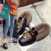 HQFZO Mules Shoes Woman Loafers Metal Chain Fur Casual Female Slip- On Shoes Woman Soft Winter Autumn Mujer 2018 Flip Flops