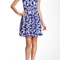 Textured Pleated Print Skater Dress