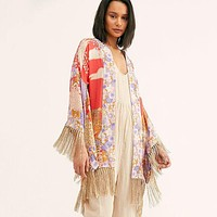 Willow Short Robe Floral Print Women Jacket Top Wide Long Sleeves Kimono Cardigan Adjust Waist Tie Boho Casual Beach Top