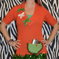 Flask Holder, Ugly Christmas Sweater dress, Women's Medium, alcohol, flask, novelty, one of a kind, ugly, party pocket, vintage, sexy