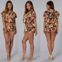 Hooded Floral Print Crop Top with Shorts