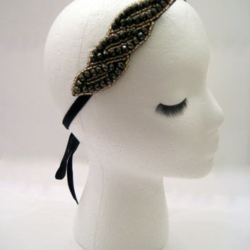 The Ada - Art deco headband, Gatsby hairpiece, 1920s hair, flapper costume, Prohibition party, Boardwalk Empire style,  gold bronze headband