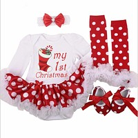 Christmas Baby Costumes Cloth Infant Toddler Girls First Christmas Outfits born Christmas Romper clothing Set birthday gift