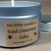 Soy Candle Tin: Iced Cinnamon Rolls Scented Container Candles