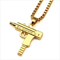 2016 New Hot ! Fashion Fine Jewelry Star The Same Style Pistol SUPREME Sweater Chain Necklaces & Pendant For Women And Men N-553