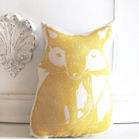 Plush Fox Pillow in Yellow. Woodblock Printed. Customizable Colors. Made to Order.