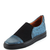 Dries van Noten Lizard & Canvas Skate Shoe, Blue