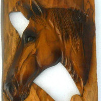 """Horse Head Wood Carving Natural Teak Wood Hand Carved Horse Head Rustic Driftwood Reclaimed Wall Hanging Home Art Decor / Gift 18""""X10"""""""