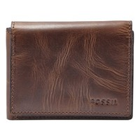 Men's Fossil 'Derrick' Leather Execufold Wallet - Brown