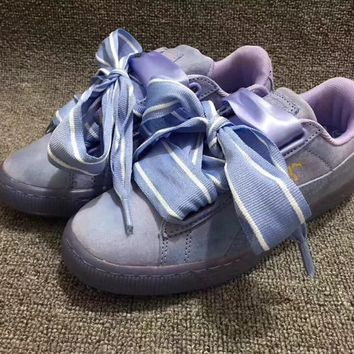 women Puma SUEDE Heart Satin Bow two generation all-match girl shoes