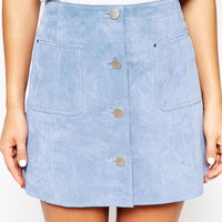ASOS Suede A-Line Skirt With Button Through And Pocket Detail