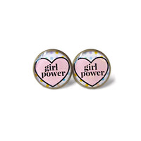 Girl Power Conversation Heart Stud Earrings - Funny Anti Valentine's Day Jewelry - Pastel Goth Insult Pop Culture Jewelry