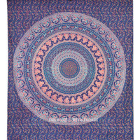 Large Blue Birds Bohemian Mandala Wall Tapestry, Wall Hanging on RoyalFurnish.com