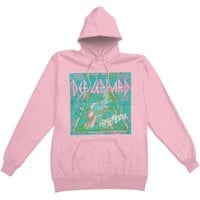 Def Leppard Men's  Hysteria Abstract Hooded Sweatshirt Pink