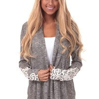 Grey Open Cardigan with Lace Detail