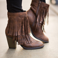 Too Cool For School Fringe Booties (Brown)