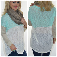 Mint Madness Color Block Knit Top