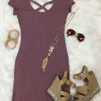 Cross on Over Dress: Plum