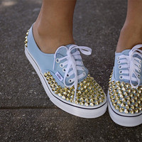 Gold Studded Vans by CosmicTeens on Etsy