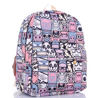 Cartoons Canvas Cute Plaid Print Lovely Backpack = 4887503428