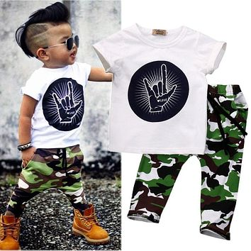 0-4Y Baby Boys Clothes Short Sleeve T-Shirt Top + Camouflage Pants 2PCS Outfit Toddler Kids Clothing Set
